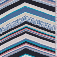 *1 YD PC--Turquoise Multi Chevron Rayon Crepe