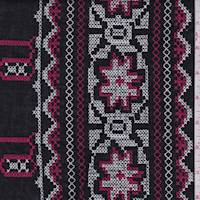 Black/Red/White Embroidered Lawn