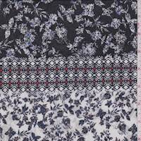 White Multi Stylized Floral Cotton Gauze