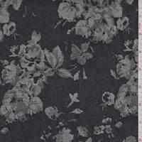 Navy Jacquard Floral Stretch Denim