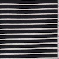 *3 1/8 YD PC--Black/Ivory Stripe Liverpool Knit