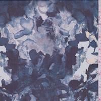*1 7/8 YD PC--Ecru/Slate Blue Mottled Floral Silk Chiffon