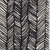 *1 3/8 YD PC--Dark Ivory/Black Herringbone Print Tencel Knit