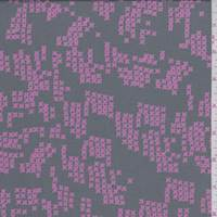 *3 1/4 YD PC--Dark Grey/Pink Cross Stitch Print Rayon Challis