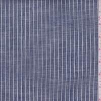 Dark Blue Pinstripe Linen Oxford
