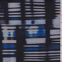 *3/4 YD PC--Deep Blue/Aqua/Black Abstract Stripe Scuba Knit