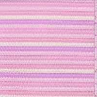 *2 1/4 YD PC--Coral/Fuchsia/Cream Stripe Seersucker
