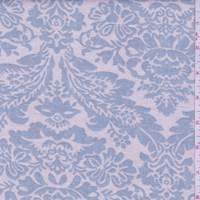 *3 1/4 YD PC--Ecru/Dusty Blue Shabby Chic Baroque Linen