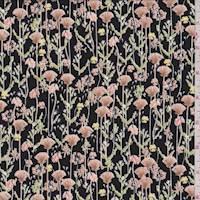 *3 YD PC--Black Fan Flower Jersey Knit