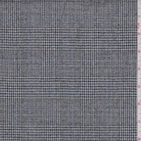 Black Glen Plaid Wool Flannel Suiting
