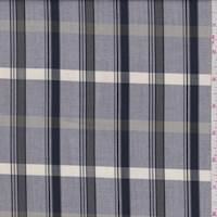 Grey/Navy/Ivory Plaid Fine Line twill