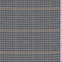 Grey/Gold Herringbone Plaid Wool Jacketing