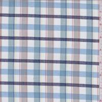 White/Teal/Beige Plaid Shirting