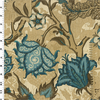 *2 3/4 YD PC--Brown/Blue Floral Printed Vintage Linen Home Decorating Fabric