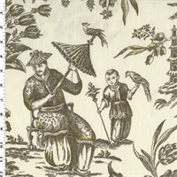 *2 YD PC--Cream/Brown Williamsburg Linen/Cotton Toile Print Decorating Fabric