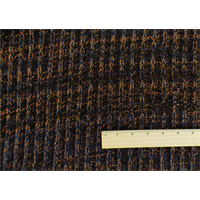 *1 3/8 YD PC--Orange/Blue/Brown Wool Blend Sweater Rib Knit