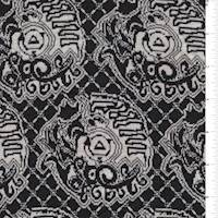 *1 1/2 YD PC--Black/Ivory Lattice Medallion Jacquard Knit
