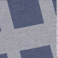 *1 YD PC--Grey/Slate Blue Geo Print French Terry Knit
