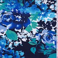 *3 1/8 YD PC--Dark Navy/Royal Floral Jersey Knit