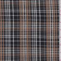 *1 1/4 YD PC--Black/Toffee Plaid Cotton Seersucker