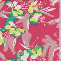 Coral Tropical Floral Rayon Faille