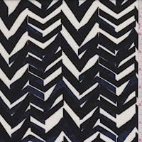 Ivory/Black/Blue Herringbone Stripe Rayon Challis