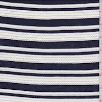 Navy/White Mesh Stripe Jersey Knit