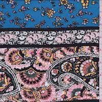 Aqua/Pink Stylized Stripe Rayon Crepe