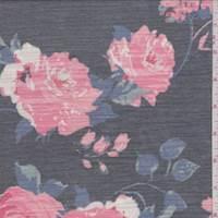 Granite/Coral Floral Slub Jersey Knit