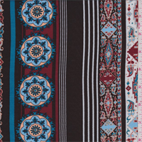 *3 1/2 YD PC--Chocolate/Aqua Decorative Stripe Rayon Challis
