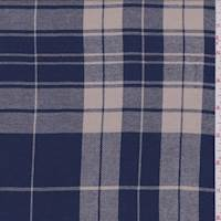 *3 1/8 YD PC--Coventry Blue/Beige Plaid Shirting