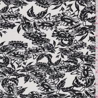 *2 1/8 YD PC--White/Black Daisy Print Rayon Jersey Knit