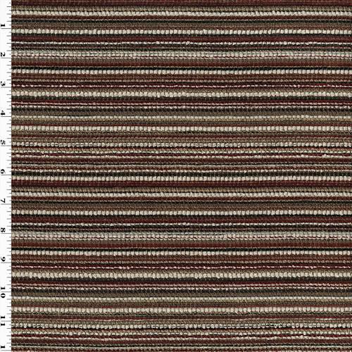 Burgundy Red Multi Crafty Chili Pepper Stripe Decor Fabric