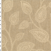 *6 YD PC--Ivory/Beige Leaf Jacquard Home Decorating Fabric