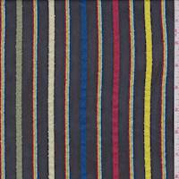 Black Multicolor Stripe Chiffon