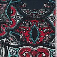 Hunter/Red Paisley Medallion Textured Liverpool Knit