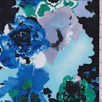 Spa Blue/Royal/Jade Floral Textured Liverpool Knit