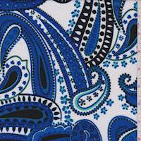 White/Cobalt Paisley Textured Liverpool Knit