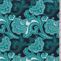 Navy/Aqua Green Stylized Floral Textured Liverpool Knit