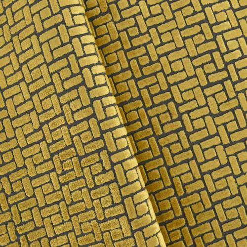 Repeated Medallion Geometric Pattern Orange Velour Faux Velvet Upholstery Fabric