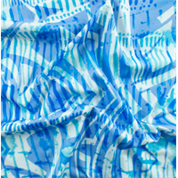 *3/4 YD PC--Blue/White Abstract Print Tricot