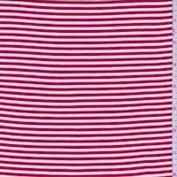 *3 YD PC--White/Red Ticking Stripe Cotton Jersey Knit