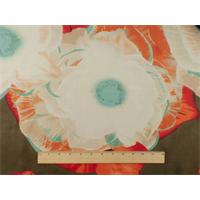 *2 YD PC--Red/Multi Floral Print Silk/Cotton Chiffon
