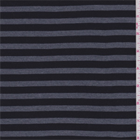*3/4 YD PC--Black/Grey Stripe Rayon Jersey Knit