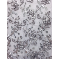 *3 YD PC--Nickel Grey Floral Ribbon Sequin Mesh