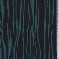*3 1/2 YD PC--Emerald/Black Zebra Stripe Rayon Crepe