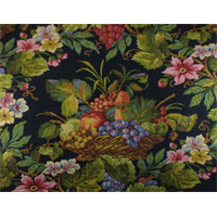 *2 YD PC--Black/Multi Texnova Floral Tapestry Home Decorating Fabric