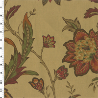 *1 YD PC--Orange/Red Printed Floral Vintage Linen Home Decorating Fabric