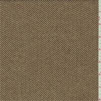 *3 3/8 YD PC--Tawny Brown/Ivory Wool Blend Herringbone Twill Jacketing