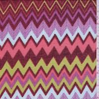 *2 1/2 YD PC-Red/Lime/Blue Chevron Stripe Sweater Knit